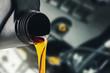 Leinwanddruck Bild - pouring changing car engine oil