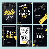 Black Friday sale. Vector illustration concepts of online shopping website and mobile website banners, posters, newsletter designs, ads, coupons, social media banners, marketing material. - 230622235