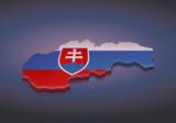 Carte de la Slovaquie 3D drapeau (fond sombre)