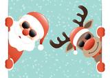 Santa & Rudolph Sunglasses Banner Inside Snow Retro