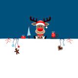 Background Rudolph Gift & Symbols Blue