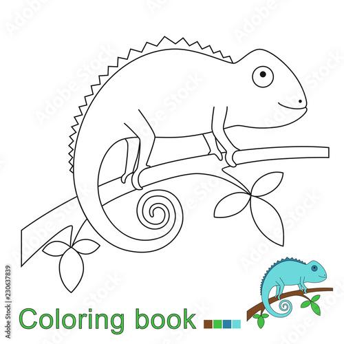ilustracja kameleona siedzącego na gałęzi do barwienia książki. Prosta gra edukacyjna dla dzieci