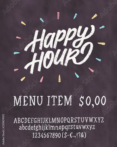 Happy hour. Chalkboard sign.