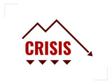Economy crisis icon. Financial loss concept. Word crisis with line chart falling down - 230644062