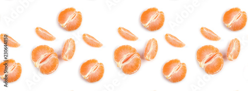 banner pattern peeled mandarin juicy slices on white background - 230644850