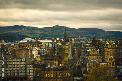 Edinburgh skyline at dawn sunset with dramatic sky and Edinburgh buildings and architecture tourism travel concept Scotland - 230650407