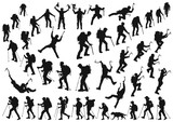 mountaineer climber hiker people, vector silhouette collection - 230654201