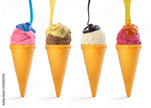 colorful ice cream watered with different sauces