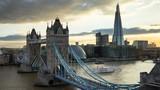 time lapse London skyline with illuminated Tower bridge in sunset time, UK - 230658850