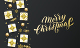 Merry Christmas golden lettering text, black background. Vector Christmas greeting card calligraphy, gifts, snowflakes and gold glitter stars - 230660675
