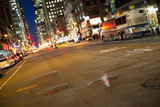 Traffic at night on 5th street, New York City, Manhattan USA