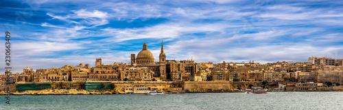 Leinwanddruck Bild Panorama skyline Valletta Malta