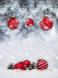 Christmas banner with red baubles with snowflakes - 230664416