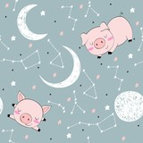 Seamless pattern with funny pigs and moon. Sweet dreams.