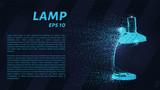 Table lamp of blue luminous dots. Lamp vector illustration. - 230666609