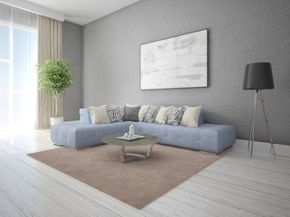Mock up modern living room with a large corner sofa and extravagant background.