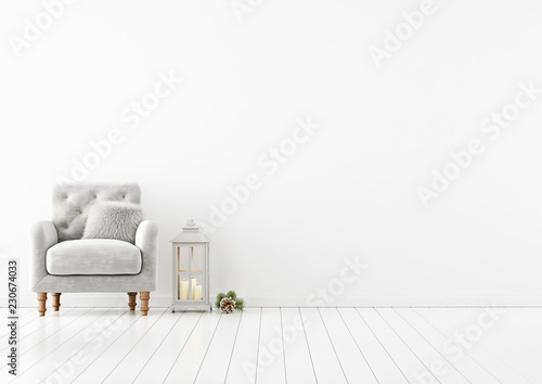 Leinwanddruck Bild Livingroom interior wall mock up with grey tufted armchair, fur pillow and lantern on empty white background. 3D rendering.