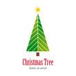 Logotipo Christmas Tree con arbol abstracto ramas blancas