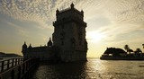 sunset at the tower of belem in lisbon - 230692097