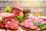 Fresh Raw Meat Background with vegetables, meat concept, butcher - 230698818