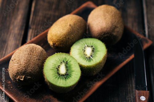 healthy organic vitamins rich food, kiwi slices close up. Fruit background