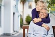 Leinwanddruck Bild - Portrait of happy senior couple smiling at home