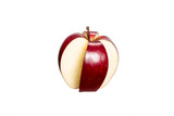Red cut four part  apple isolated on a white background. Conceptual image whit red apple. - 230713007