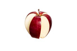 Red cut four part  apple isolated on a white background. Conceptual image whit red apple. - 230713014