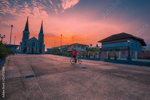 The Cathedral of Immaculate Conception is located in Chanthaburi Province and is close to the waterfront community. One of the attractions that tourists visit, Thailand. - 230723661