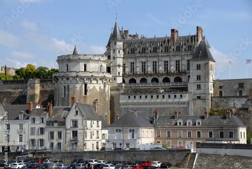 """Leinwanddruck Bild Château Royal d'Amboise surplombe la Loire, """"Château de la Loire"""", département d'Indre-et-Loire, France"""
