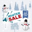 Winter Sale Banner Label Flyer Off Snowman Snowflake Pine Fir