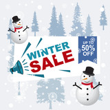 Winter Sale Banner Label Flyer Off Snowman Snowflake Pine Fir - 230732255