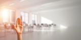 Choosing gesture of person in elegant modern interior in sunshine light - 230751870