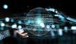 White robot hand using digital sphere connection hologram 3D rendering