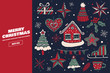 Collection of Christmas and New Year holiday elements. A large set of decorative holiday symbols: knitted hat, star, gift, gingerbread heart, snow-covered house. Festive seasonal vector illustration. - 230768830