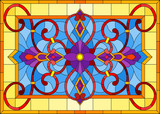 Illustration in stained glass style with abstract colors and curls on blue background in yellow frame, horizontal orientation - 230769600