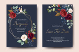 Set of card with flower rose, leaves. Wedding ornament concept. Floral poster, invite. Vector decorative greeting card or invitation design background - 230776012