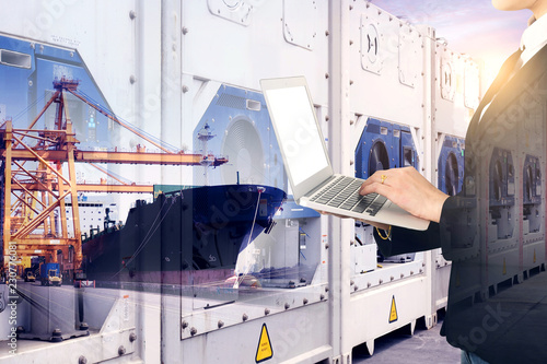 Business shipping industry reefer frozen or chill with cargo operation at port and business woman is using laptop with Reefer containers are stacking at background.