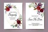 Set of card with flower rose, leaves. Wedding ornament concept. Floral poster, invite. Vector decorative greeting card or invitation design background - 230776202