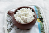 Cottage cheese in a bowl, closeup - 230776203