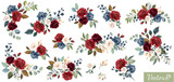 Set of floral branch. Flower red, burgundy, navy blue rose, green leaves. Wedding concept with flowers. Floral poster, invite. Vector arrangements for greeting card or invitation design - 230776299