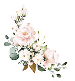 watercolor flowers. floral illustration, Leaf and buds. Botanic composition for wedding or greeting card.  branch of flowers - abstraction roses - 230777498