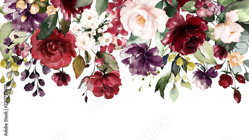 watercolor flowers. floral illustration, Leaf and buds. Botanic composition for wedding or greeting card. Border, branch of flowers - abstraction roses - 230777410