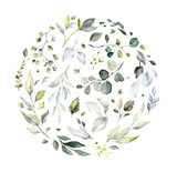 watercolor floral arrangements with leaves, herbs.  herbal illustration. Botanic composition for wedding, greeting card. round composition - 230778212