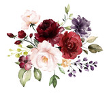 watercolor burgundy flowers. floral illustration, Leaf and buds. Botanic composition for wedding, greeting card.  branch of flowers - abstraction roses - 230778410