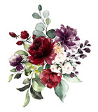 watercolor burgundy flowers. floral illustration, Leaf and buds. Botanic composition for wedding, greeting card.  branch of flowers - abstraction roses - 230778445