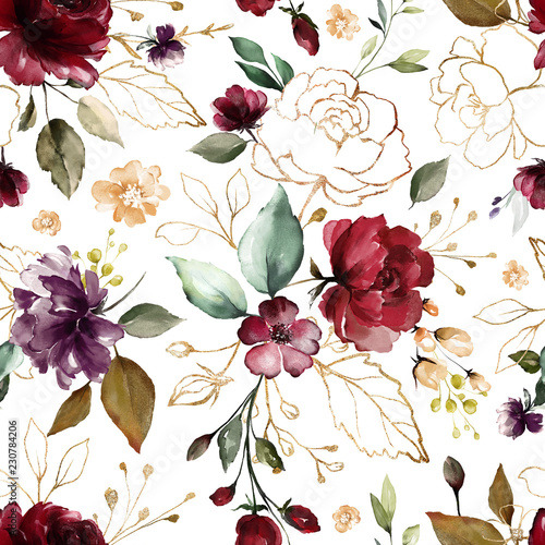 Seamless pattern with gold and burgundy flowers and leaves. Hand drawn background.  floral pattern for wallpaper or fabric. Flower rose. Botanic Tile. - 230784206