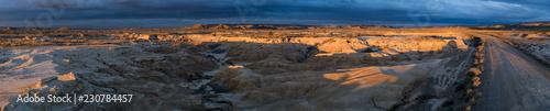 Panoramic landscape at Parque natural de Bardenas Reales en Navarra - 230784457