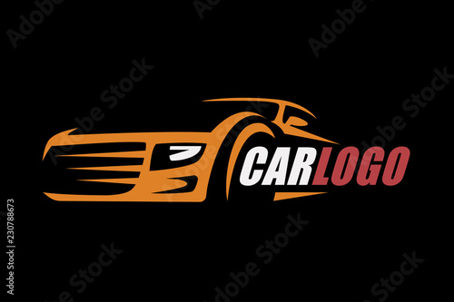 Wall mural Car symbol logo template, stylized vector silhouette