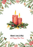 Watercolor vector greeting card with Christmas tree, spruce branches and gifts. - 230788896